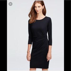 Ann Taylor 3/4 Sleeved Ruched Jersey Dress, Large